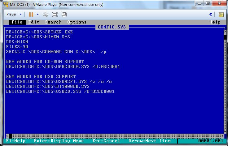 Getting USB Flash Drives to work in a VMWare DOS Machine