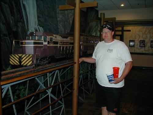 Under Siege 2 Train Crash Andy stands next to the trainUnder Siege 2 Train Crash